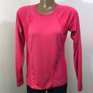 Nike Dri Fit long Sleeve Running Top Red M (8-10)